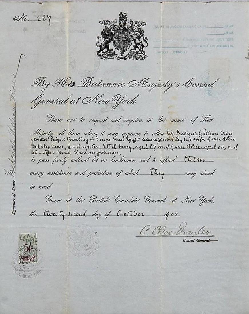 Antique British Passport Signed by G. Clive Sayler,