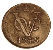 Rare Fine 1745 American Colonial VOC (Dutch) Coin