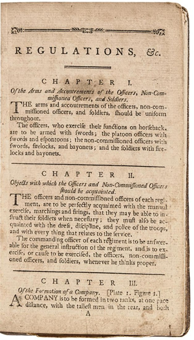1794 Baron Von Steuben's: Regulations for the Order and - 3