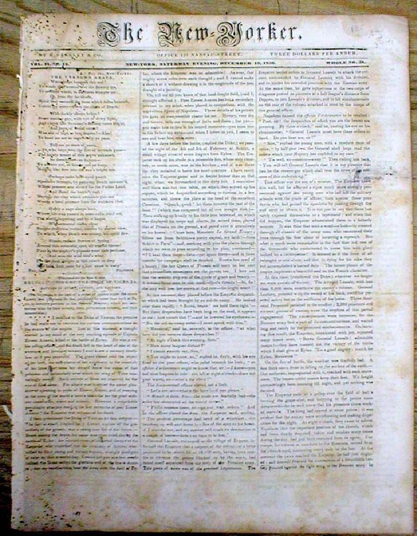 Original 1836 New Yorker Newspaper Containing President