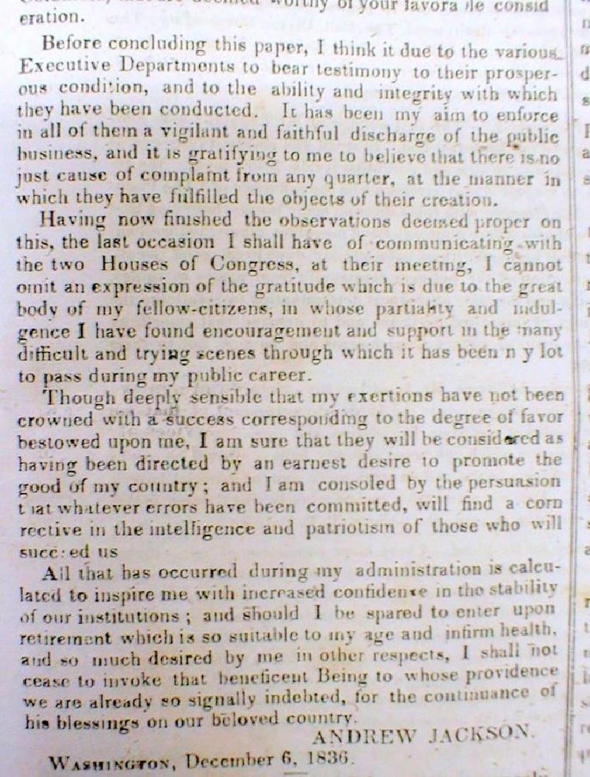 Original 1836 New Yorker Newspaper Containing President - 2