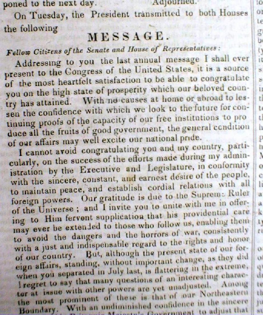 Original 1836 New Yorker Newspaper Containing President - 4
