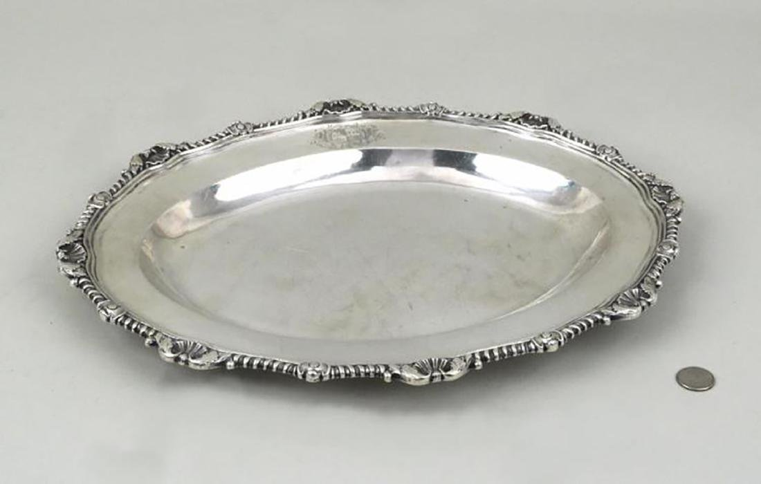 """George III, 17"""" Sterling Silver Platter by Renowned"""