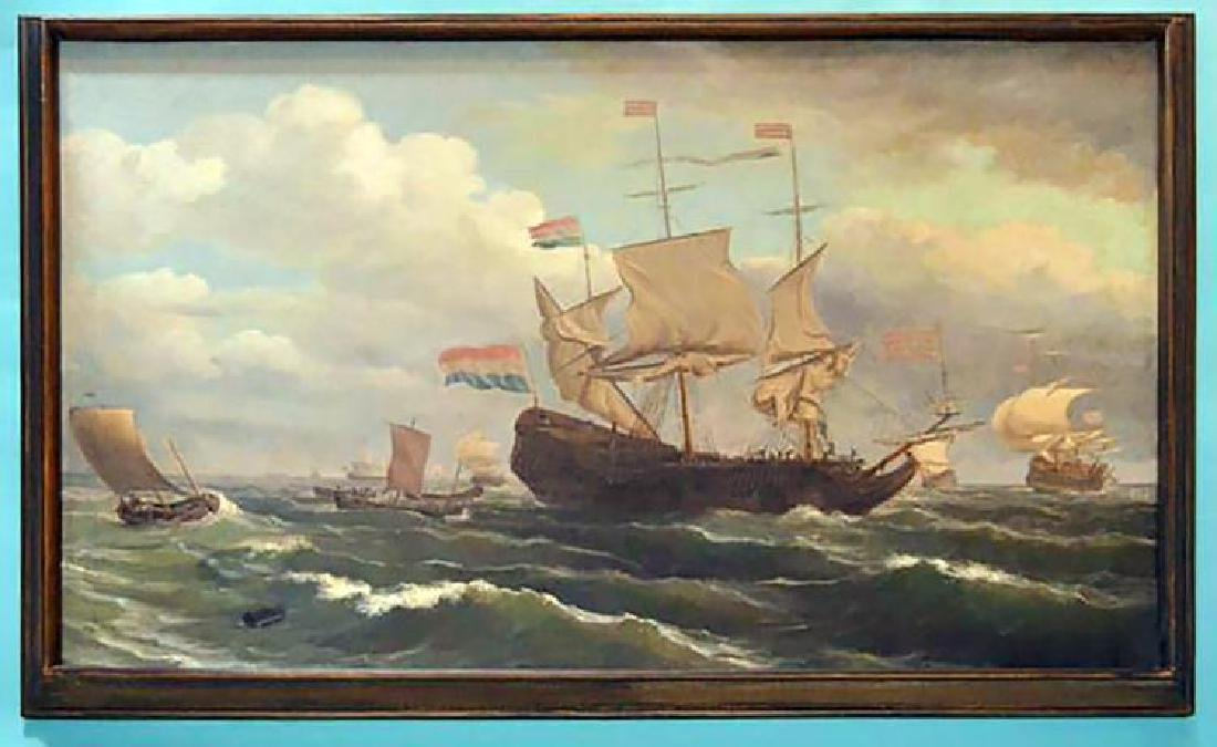 Large Original Louis Barnaba Nautical Oil Painting