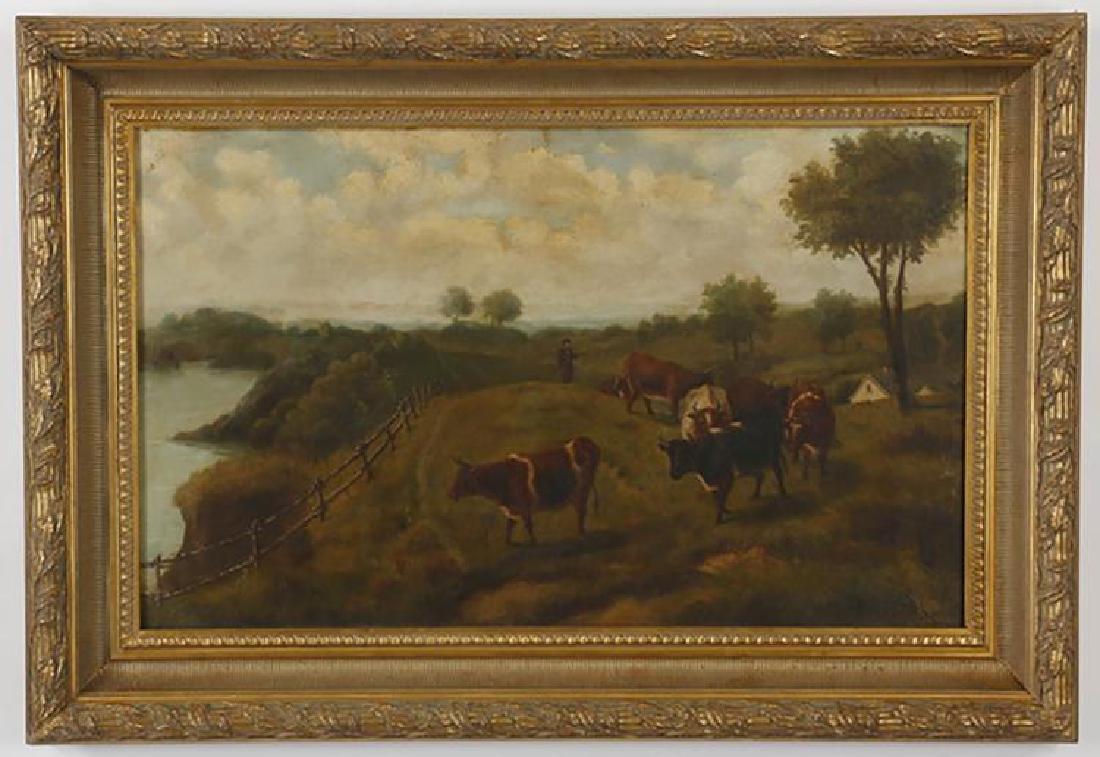 19th Century Landscape Oil Painting Entitled ÒFarmer