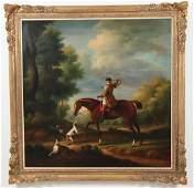 Large Alexander Scott Oil Painting of English Fox Hunt