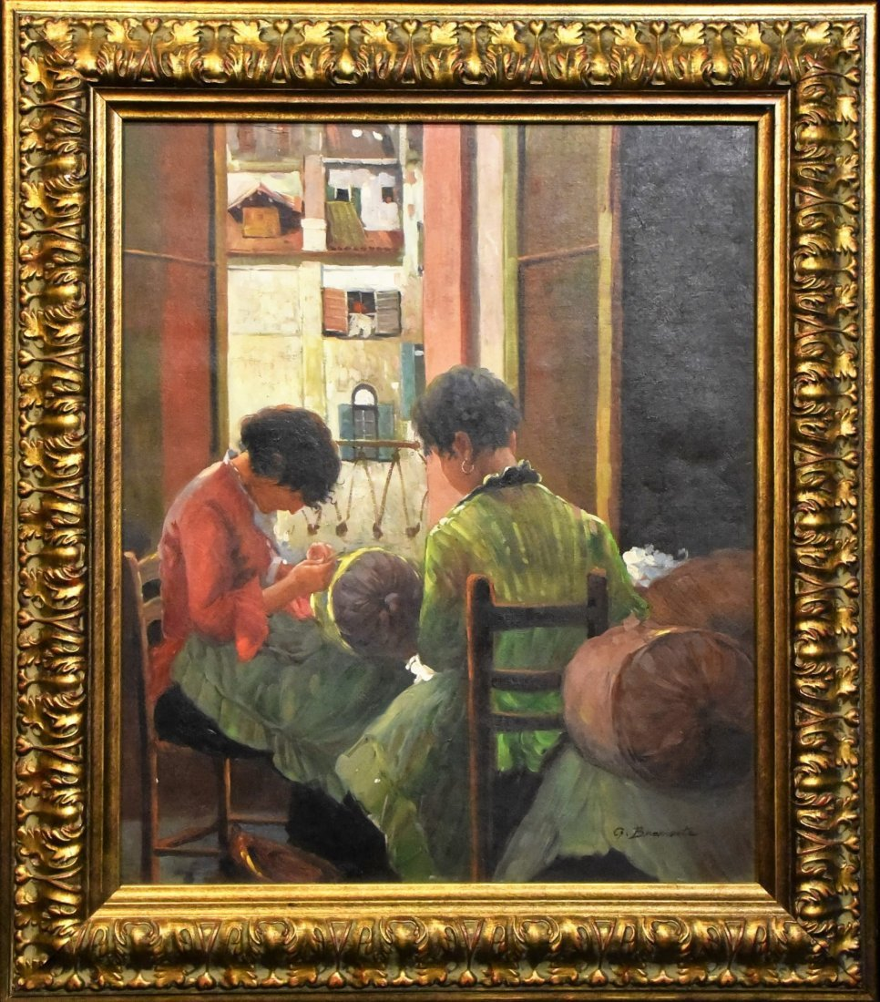 """Girls Sewing "" by George Bramanta"
