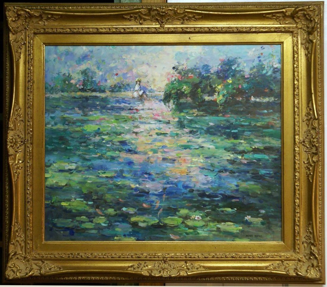 Lady By A Lily Pad Filled Pond  by Henri Dupre -