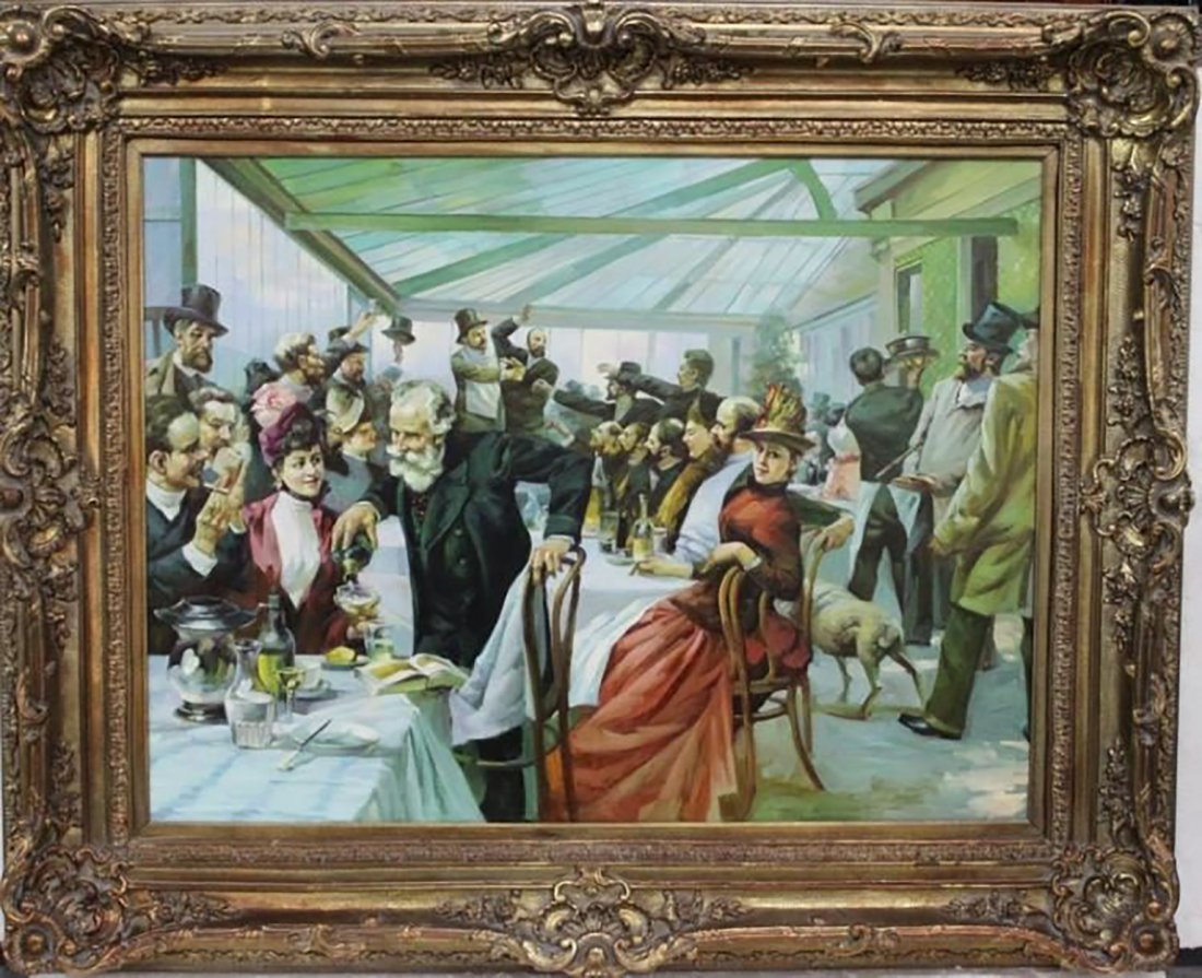 Monumental Oil Painting After William Powell Frith