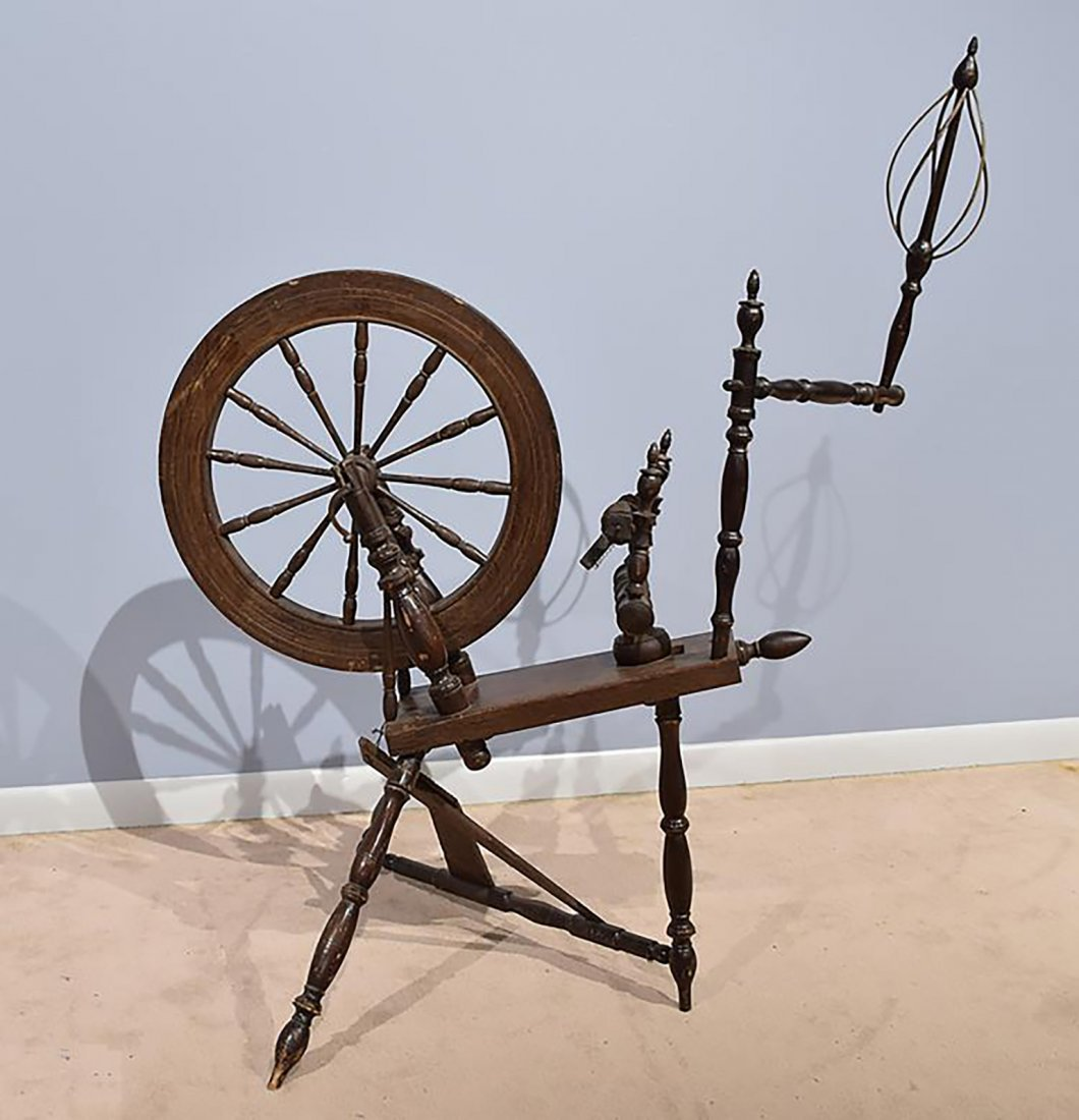 19th C. Antique  Saxony Style Wood Spinning Wheel