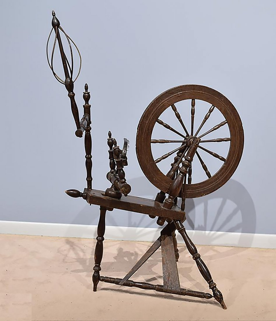 19th C. Antique  Saxony Style Wood Spinning Wheel - 2