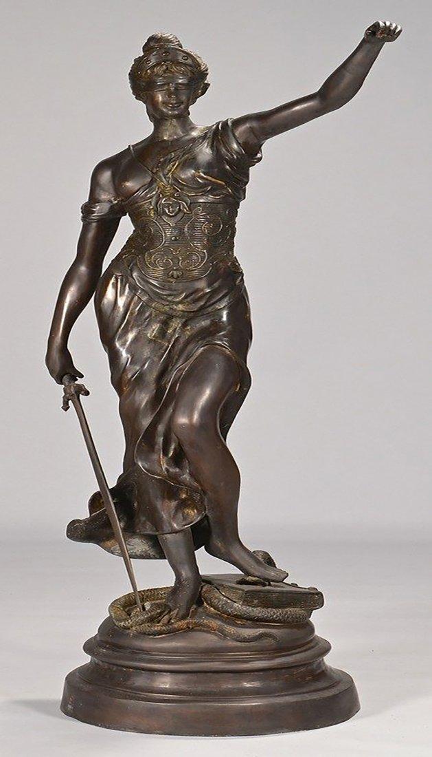 19th Century Original Bronze Sculpture of Lady Justice