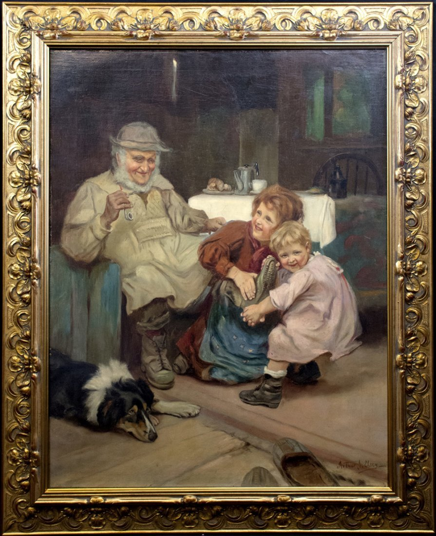 19th Century Figural Oil Painting by Arthur J. Elsley