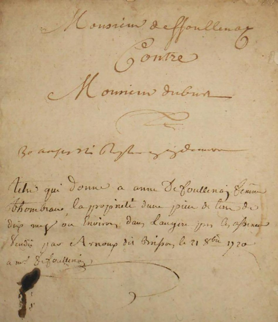Antique Hand Written Legal Document Dated 1720
