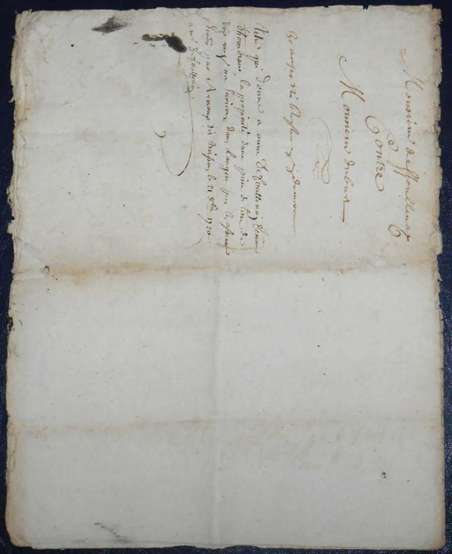 Antique Hand Written Legal Document Dated 1720 - 2