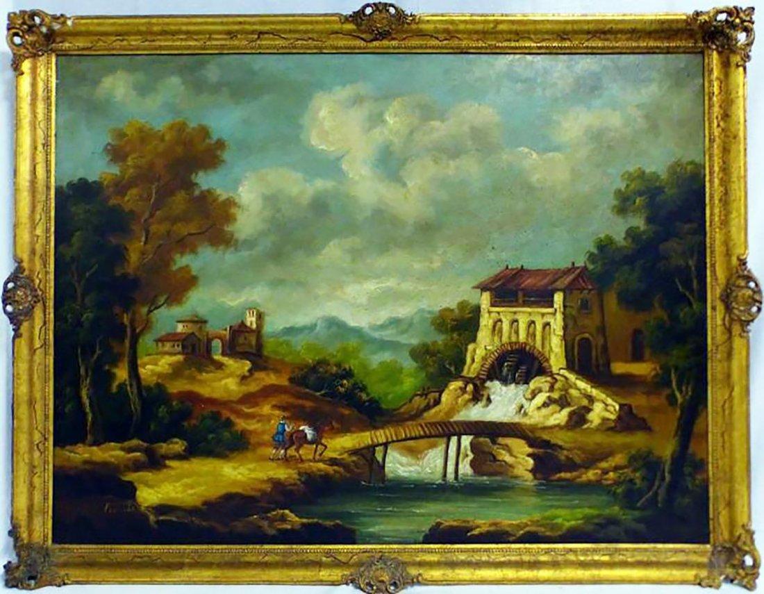 Large Spanish Landscape Oil Painting By Eduardo Vicente