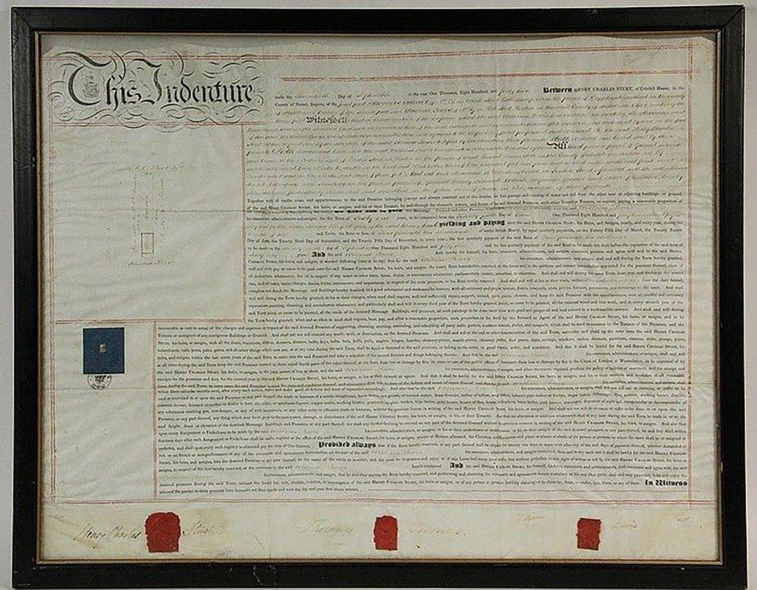 Framed English Indenture- Engrossed Parchment 1842