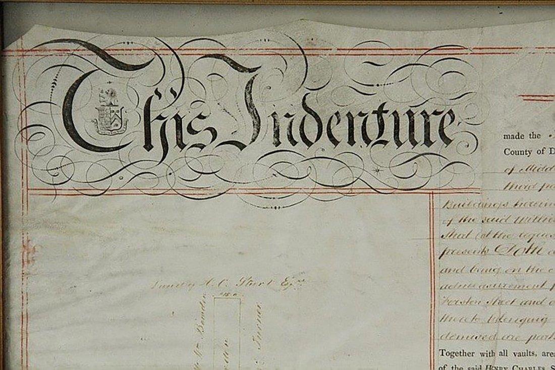 Framed English Indenture- Engrossed Parchment 1842 - 2