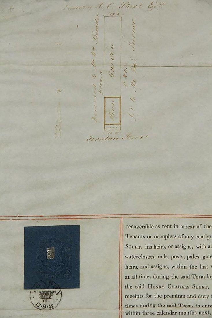 Framed English Indenture- Engrossed Parchment 1842 - 3