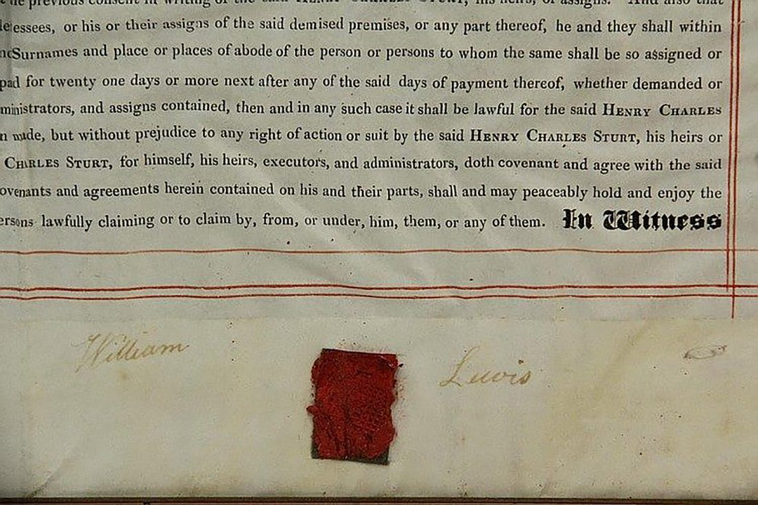 Framed English Indenture- Engrossed Parchment 1842 - 5