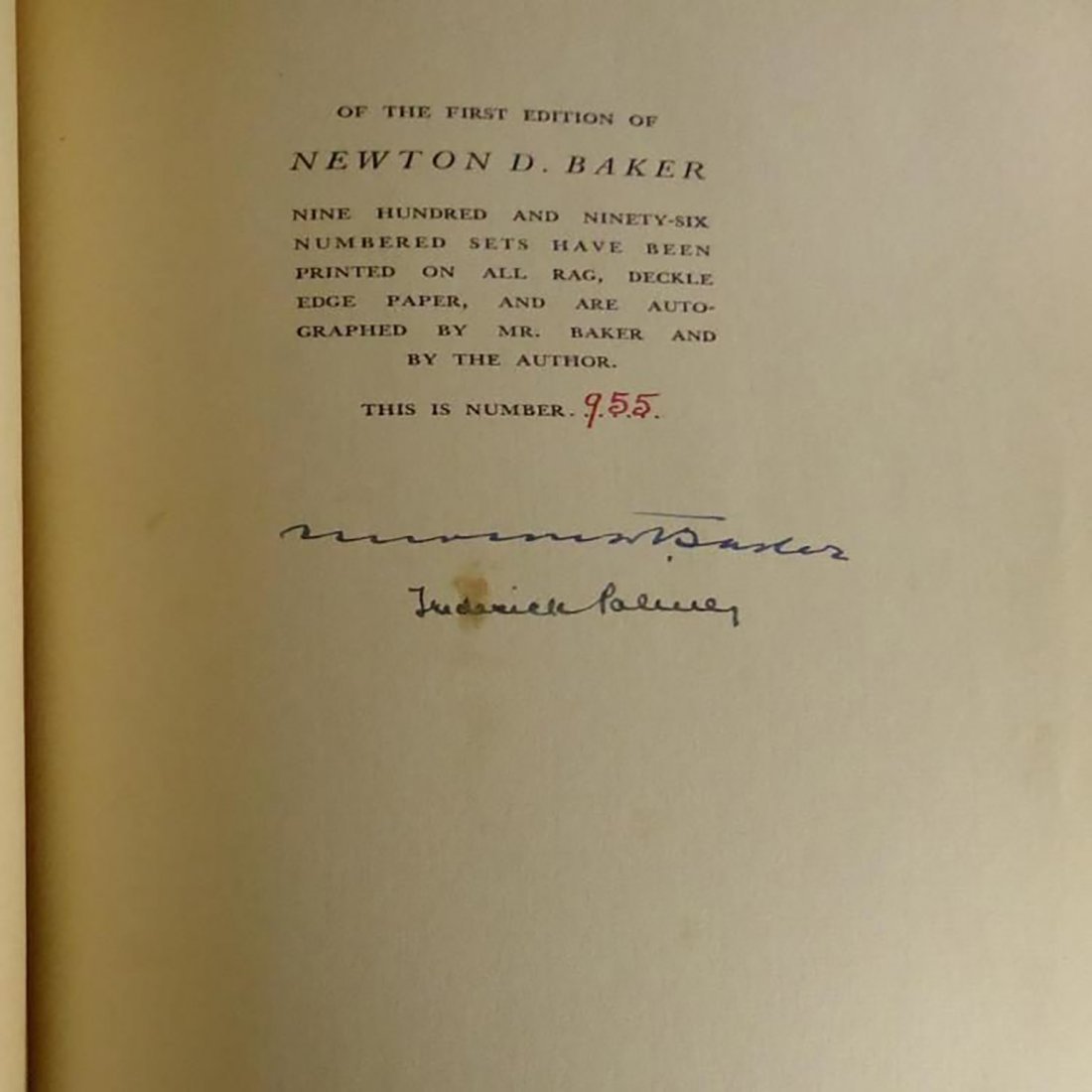 """Two Volume Book """"Newton D. Baker And America At War"""" - 2"""