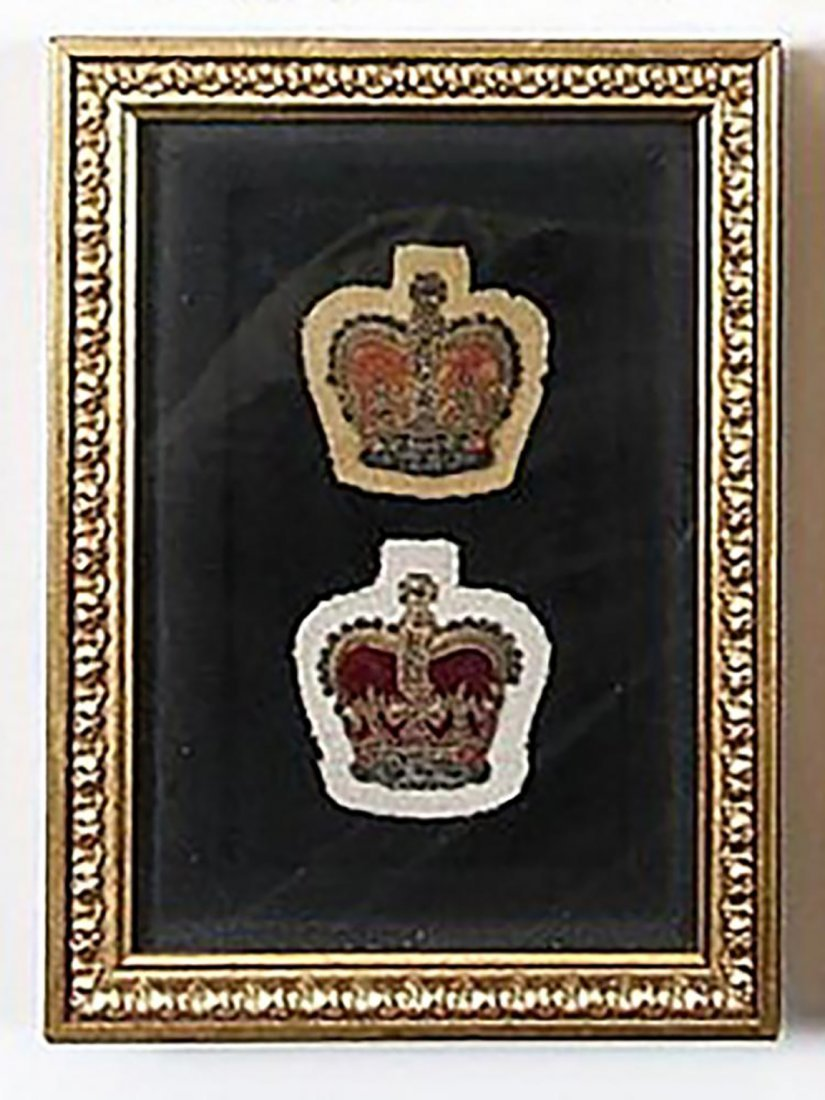 Two Framed Original British Royal Crown Bullion Badges