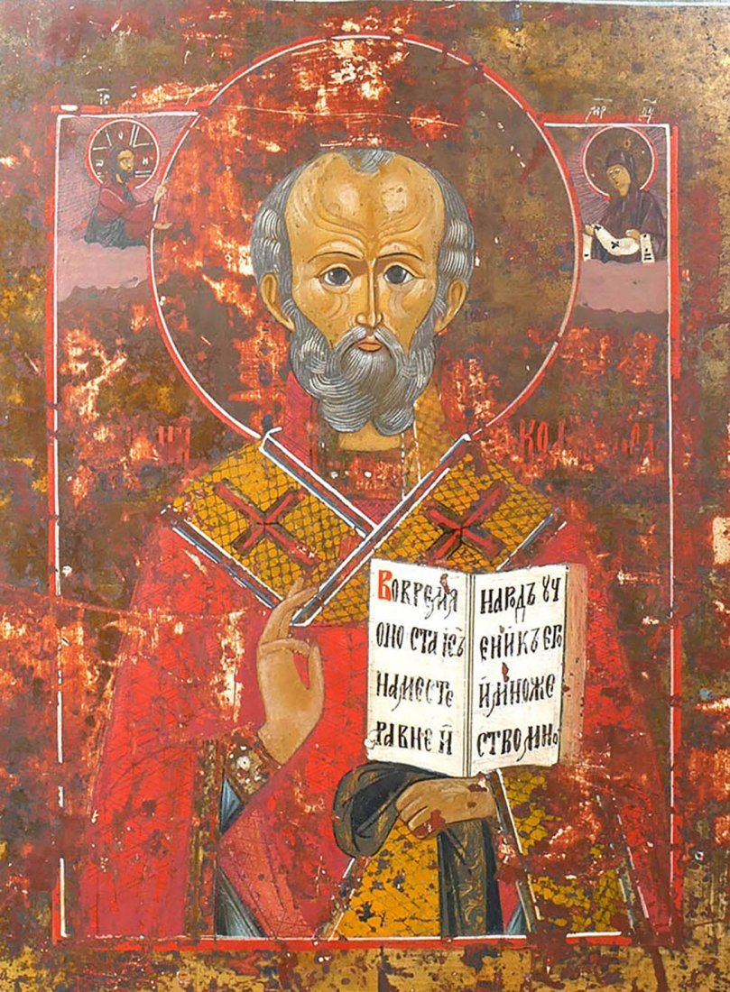 Russian Icon of a Saint Hand Painted Late 17th Century