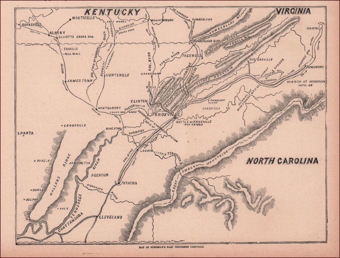Antique Original Civil War Battle Map Of East Tennessee