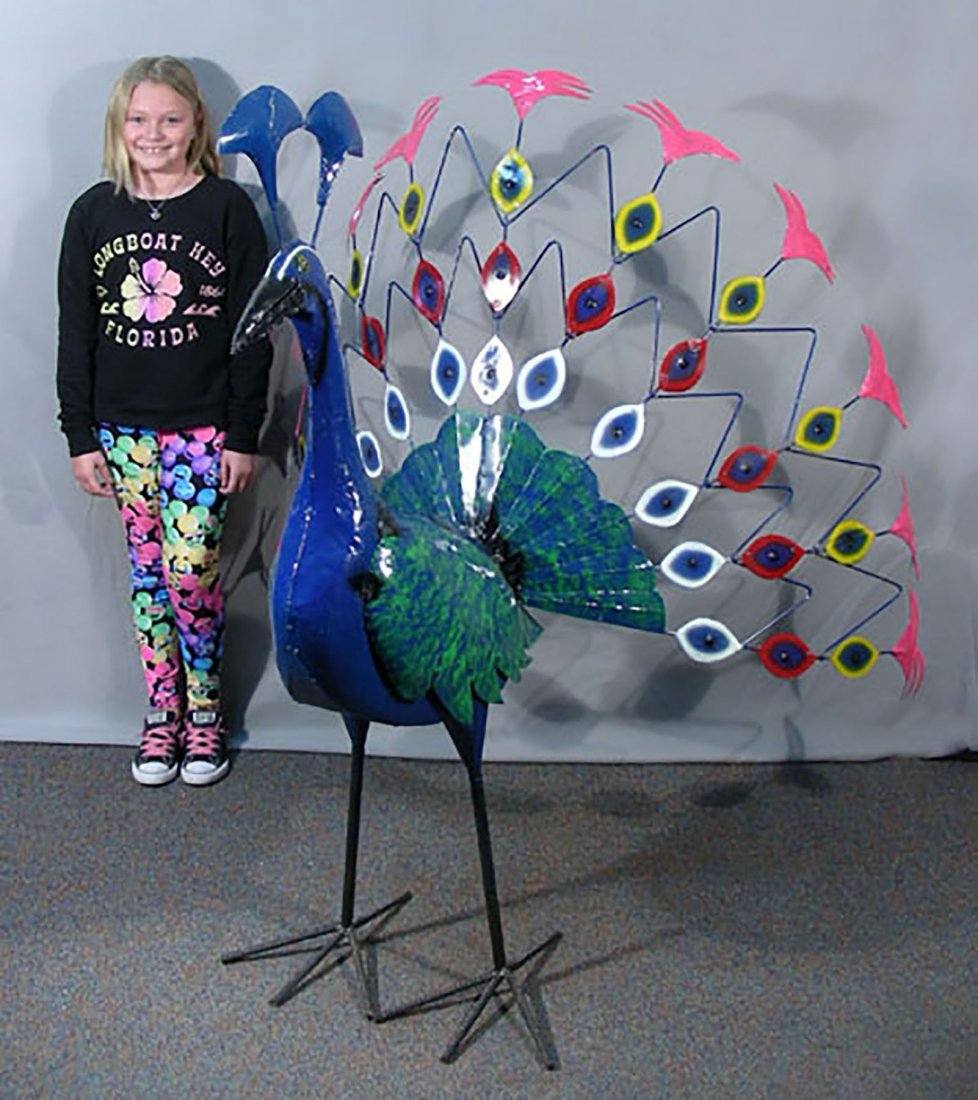 Large Museum Quality Hand Made Metal Peacock - 2