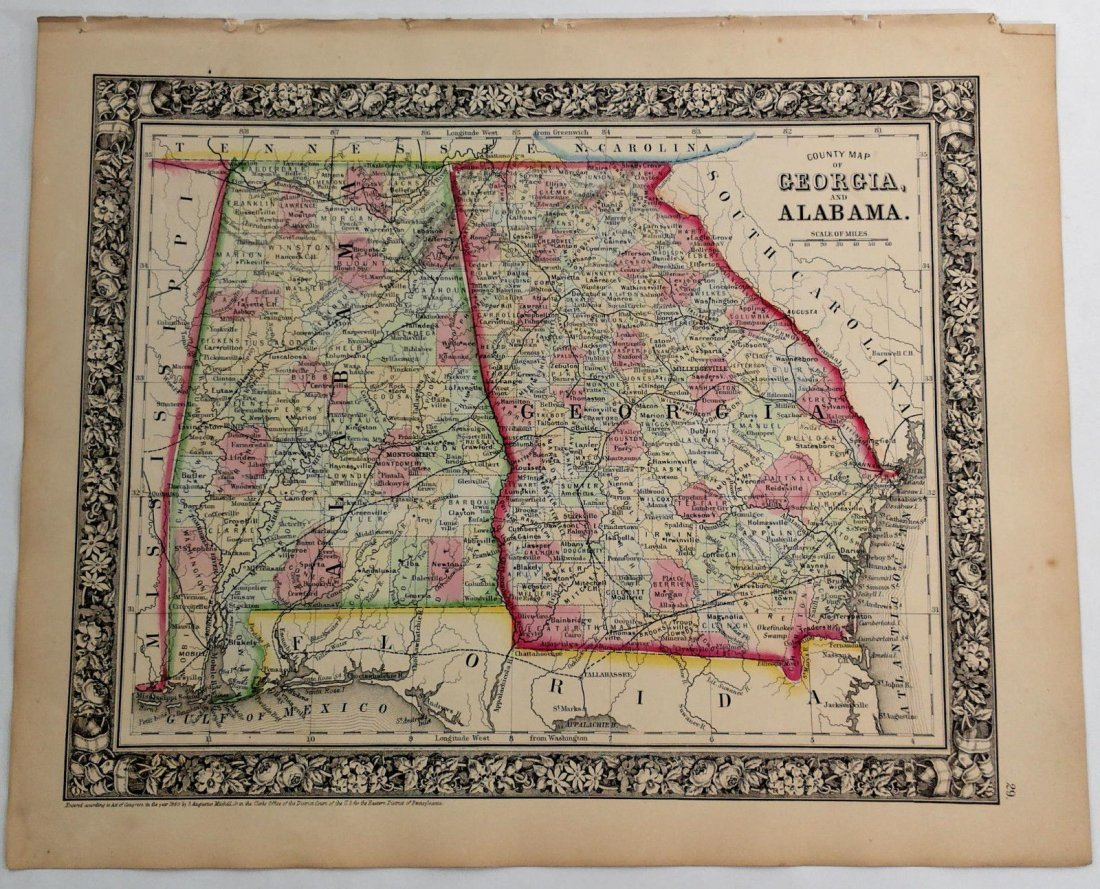 Augustus Mitchell Hand Tinted Colored Map of KY & TN
