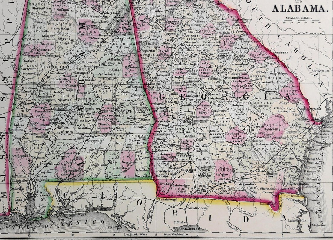 Augustus Mitchell Hand Tinted Colored Map of KY & TN - 2