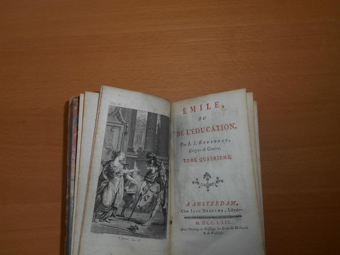 1762 Rousseau treatise Emile education antique book - 4