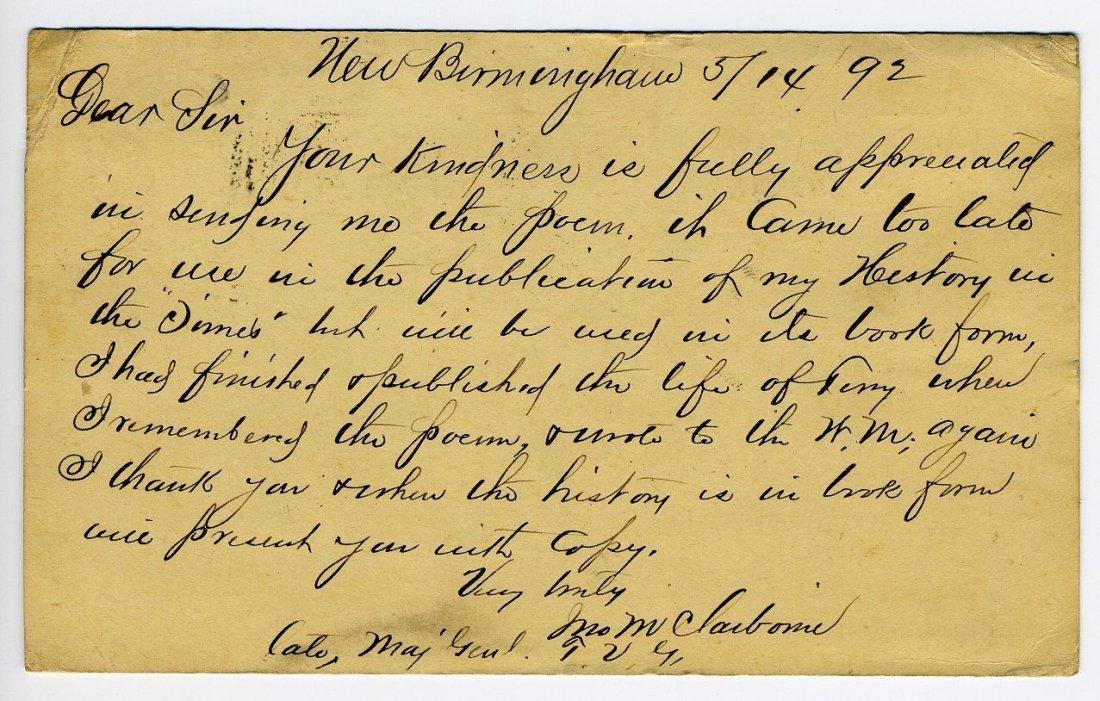 Tennessee Spy John Claiborne Handwritten Letter