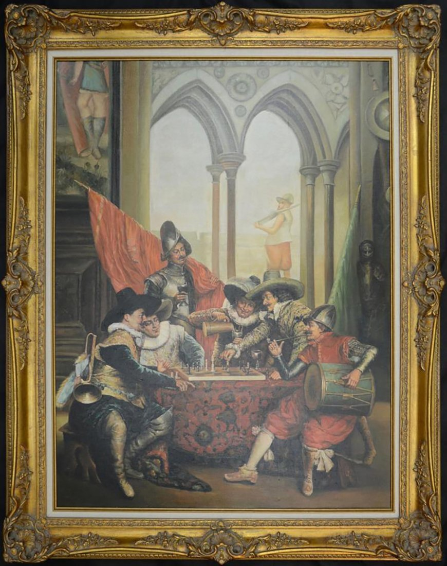 Large Signed Figural Oil Painting of Spanish Soldiers