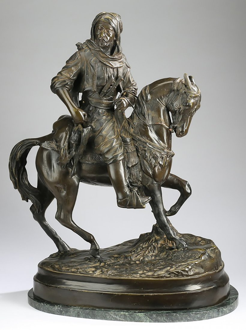 """Jockey On Horse ""  Sculpture By Charles Valton"