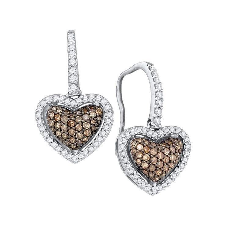 Cognac-Brown Genuine Diamond Heart Shaped Earrings