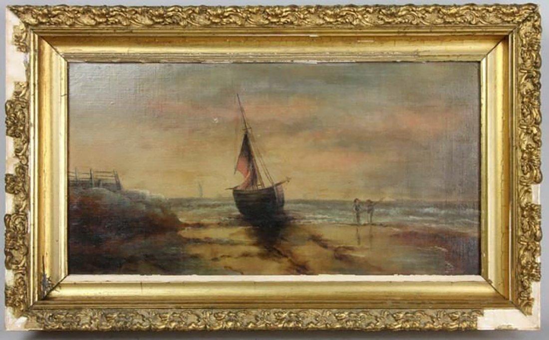 Dutch Shore-Scape Oil Painting Sailboat & Fishermen