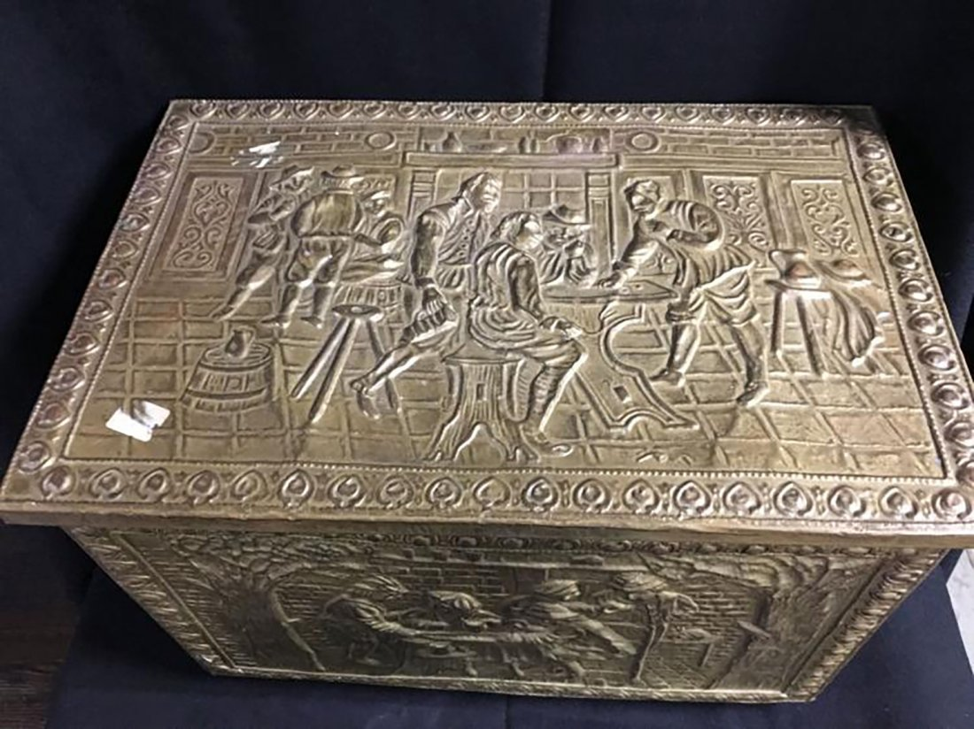 Embossed Brass Scenic Storage Box /Chest