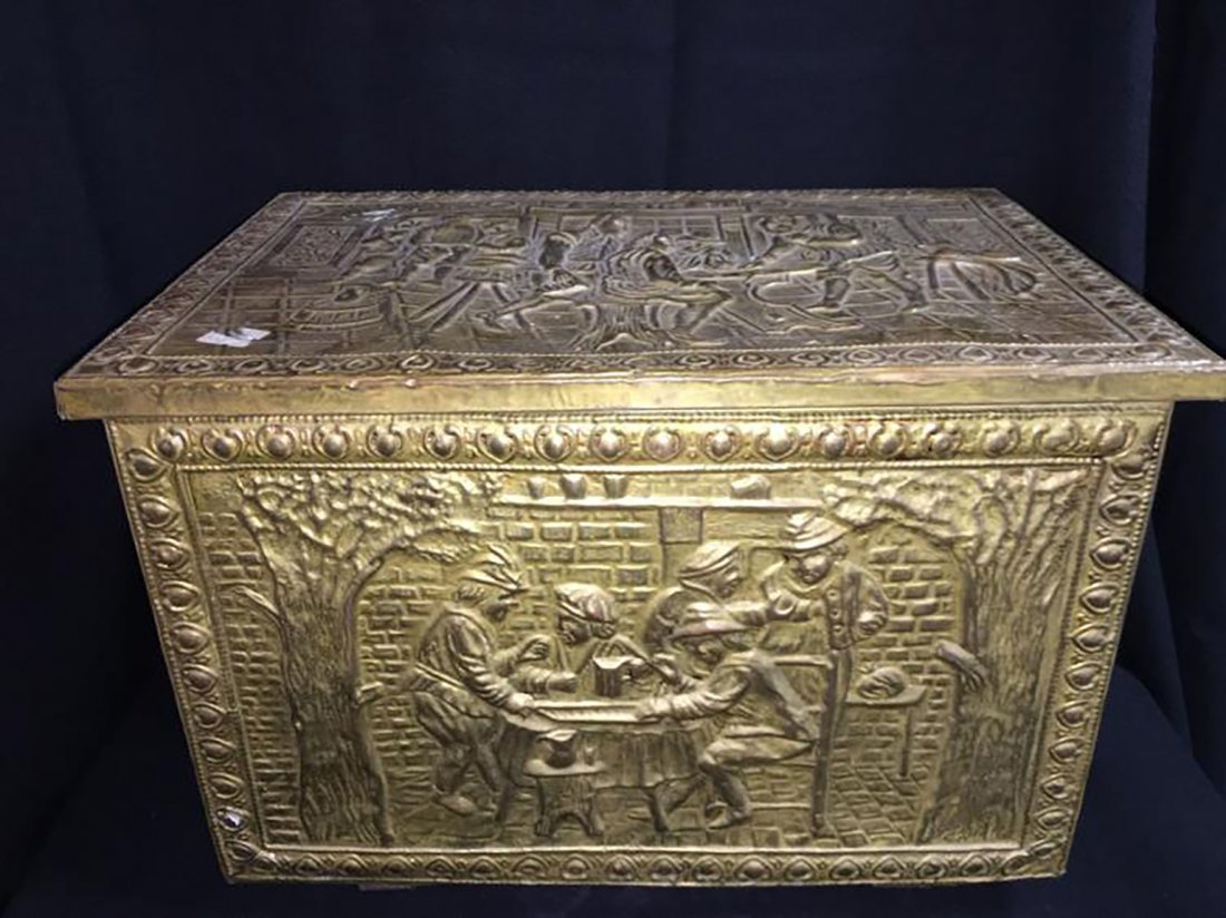 Embossed Brass Scenic Storage Box /Chest - 5