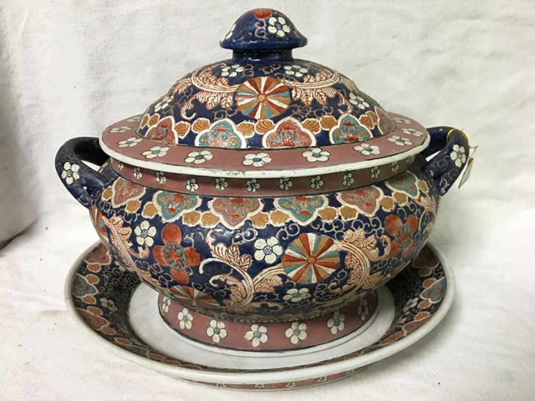 Hand Painted Ceramic Tureen W/ Matching Under Plate - 10