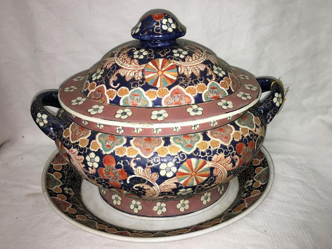 Hand Painted Ceramic Tureen W/ Matching Under Plate
