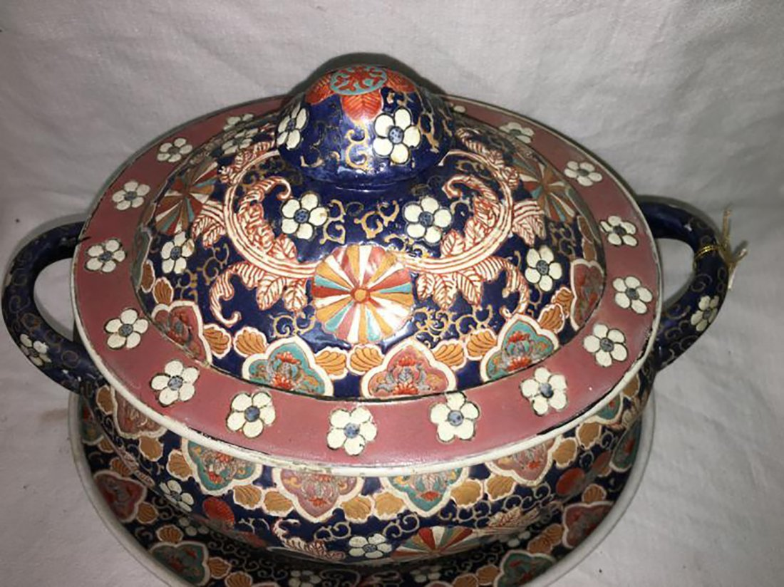 Hand Painted Ceramic Tureen W/ Matching Under Plate - 2