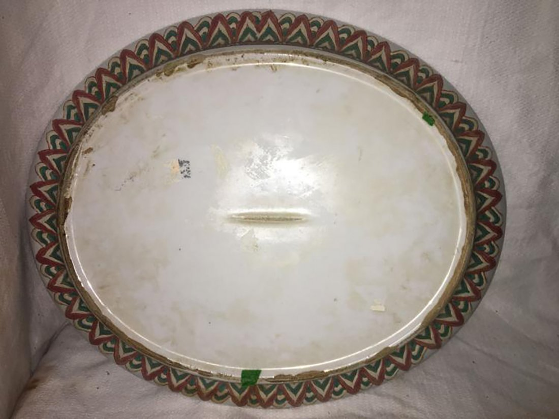 Hand Painted Ceramic Tureen W/ Matching Under Plate - 4