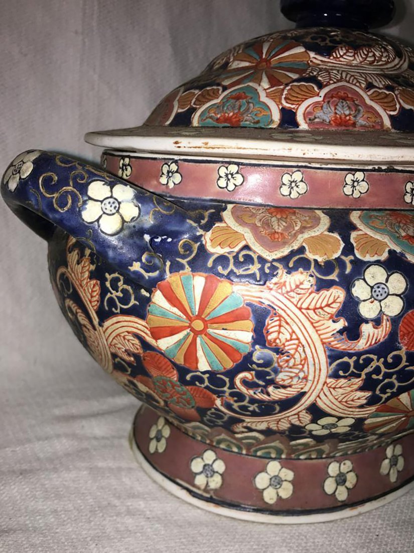 Hand Painted Ceramic Tureen W/ Matching Under Plate - 8