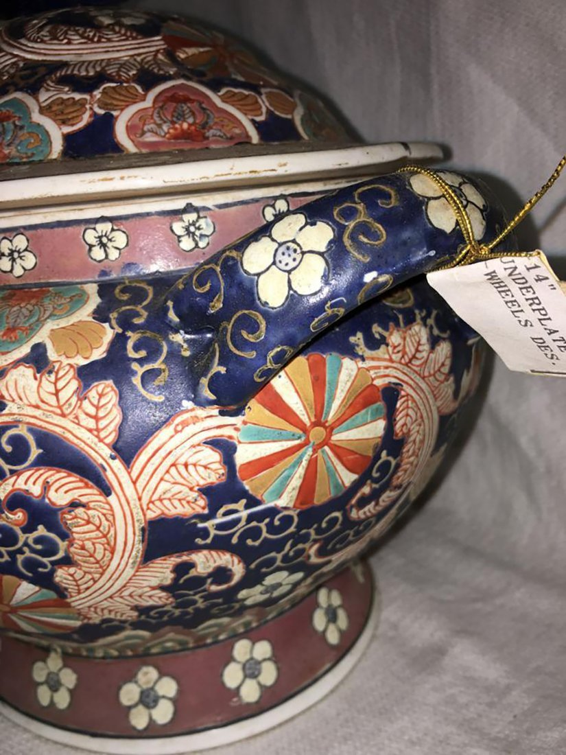 Hand Painted Ceramic Tureen W/ Matching Under Plate - 9