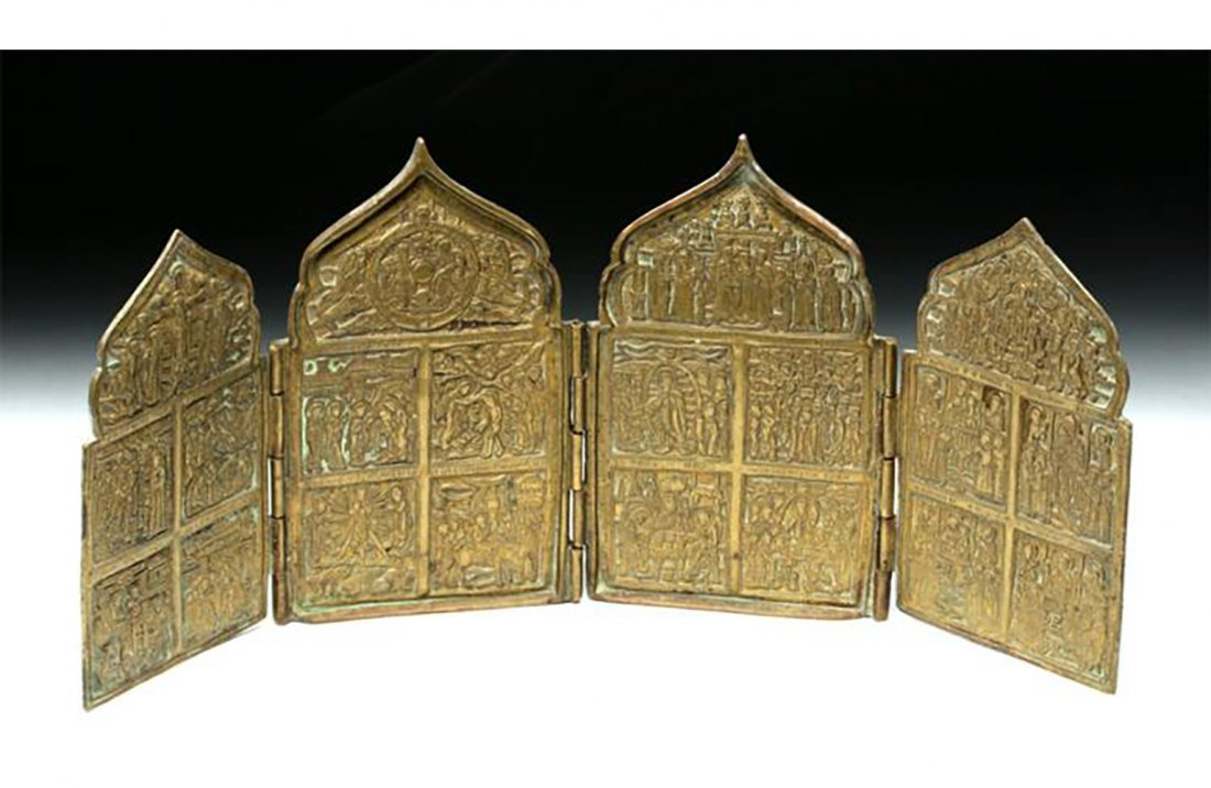 Fine Russian Brass 4 Panel Traveling Icon