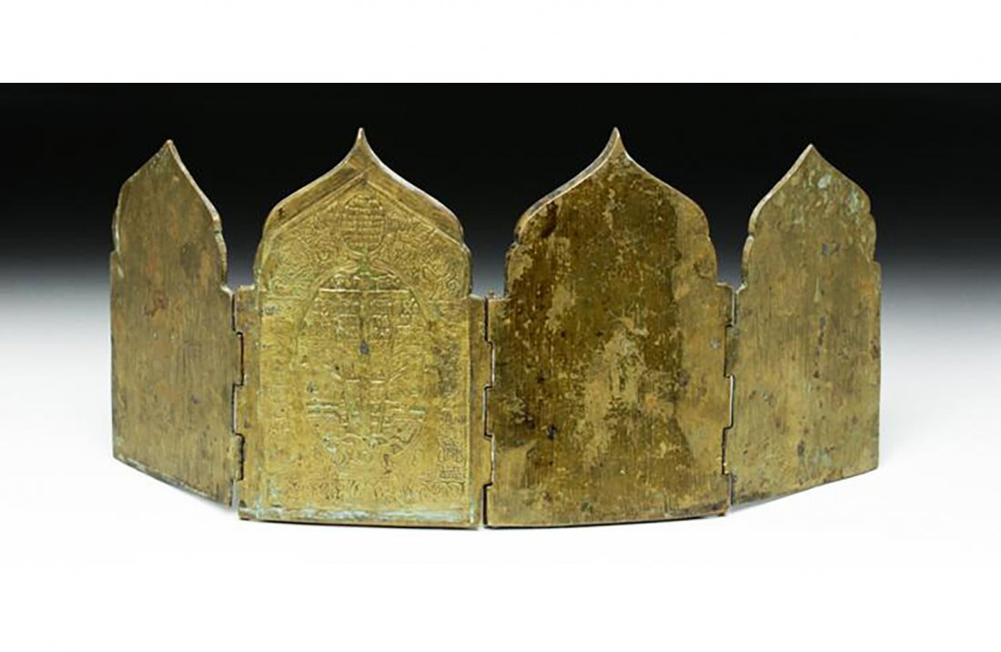 Fine Russian Brass 4 Panel Traveling Icon - 5