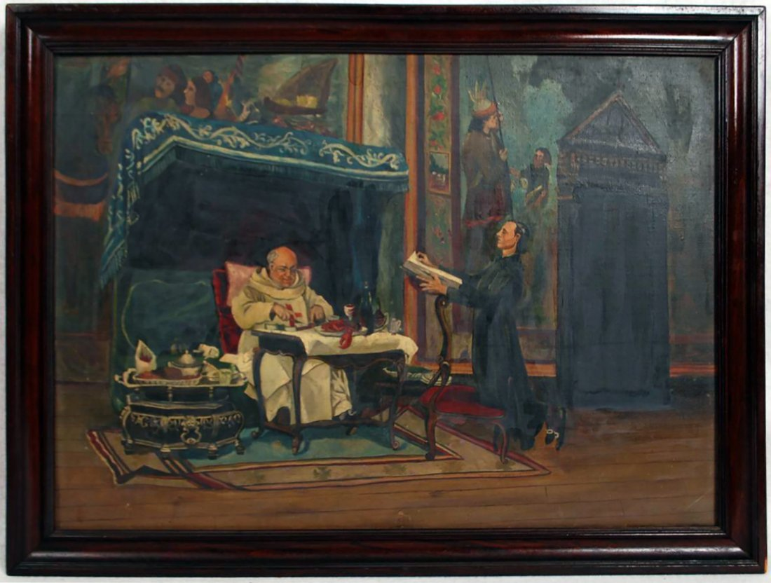 Antique Continental Signed Interiorscape Oil Painting