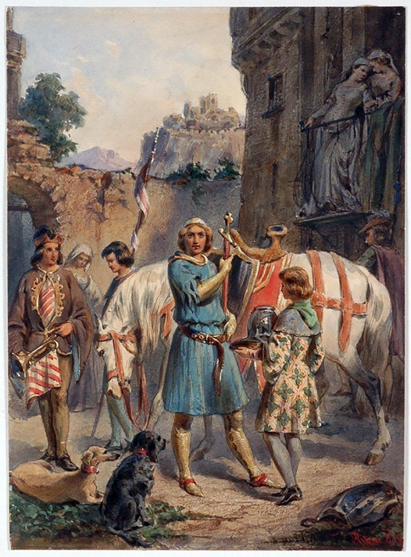 "Franz Pitner Watercolor Painting ""Before Crusade"" 1850"