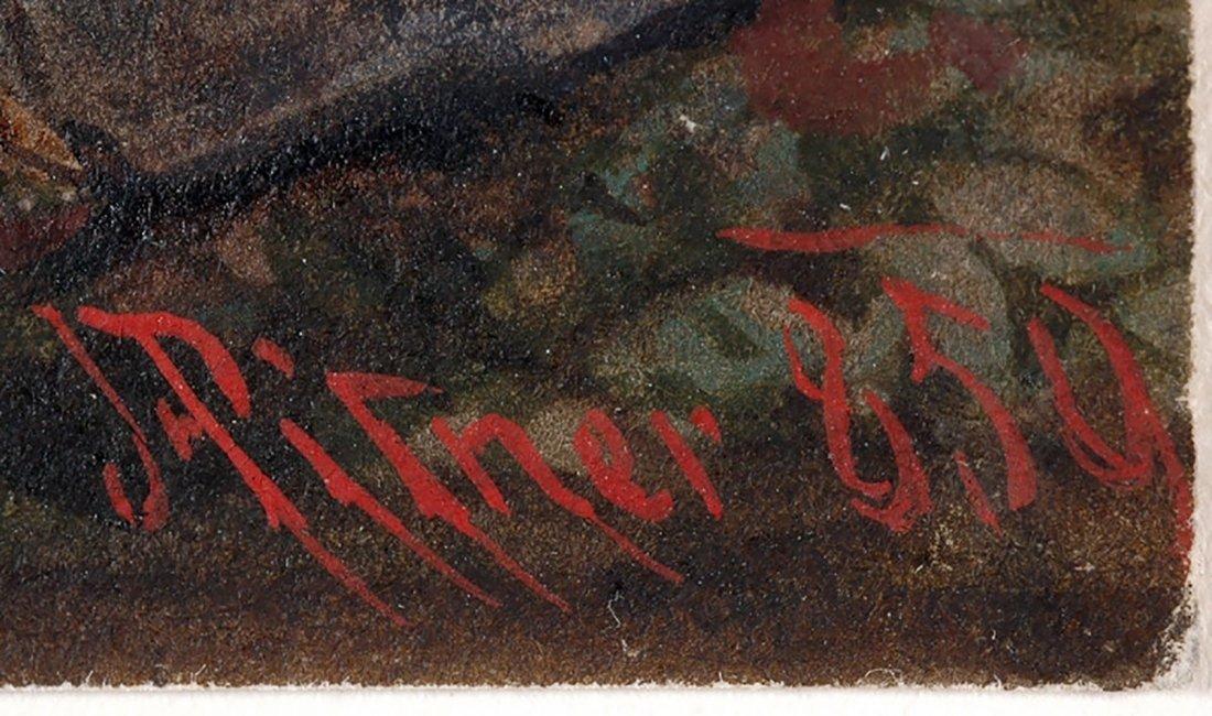 "Franz Pitner Watercolor Painting ""Before Crusade"" 1850 - 2"